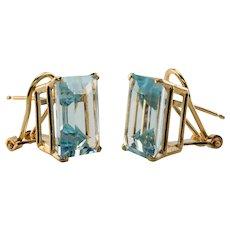 Aquamarine Earrings 14K Gold Natural Genuine Omega backings
