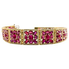 Genuine Diamond Ruby Bracelet 18K Gold