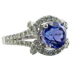 Diamond Tanzanite Ring 18K Gold Vintage by Galaxy