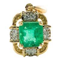 Diamond Colombian Emerald Pendant 18K Gold