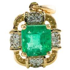 Colombian Emerald Diamond Pendant Hallmarked Amayani 18K Gold