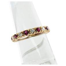 Natural Ruby Diamond Band Ring Eternity 18K Yellow Gold