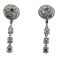 Diamond Earrings Platinum French cut