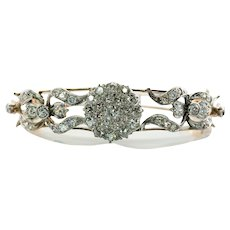 Victorian Diamond Bracelet 14K Gold Bangle