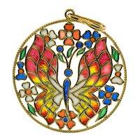 Venetian Stained Glass Butterfly Flower Pendant 18K Gold