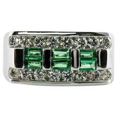 Natural Emerald Diamond Band Ring 14K Gold Men's