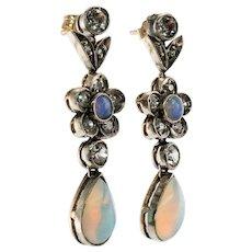 Opal Old mine Diamond Earrings Dangle 14K Gold Sterling Silver