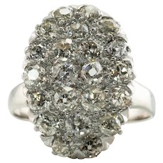 Diamond Ring Old Mine cut 14K Gold Cluster Cocktail