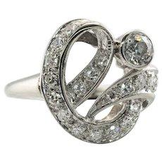 Diamond Ring 14K White Gold Old Mine Single cut
