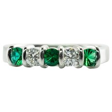 Emerald Diamond Ring Anniversary Band Platinum Estate