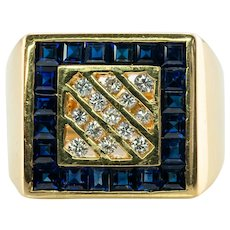 Mens Diamond Sapphire Ring 18K Gold Estate