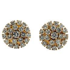 Cluster Diamond Earrings Studs 14K Gold 2.84cttw