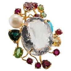 Rose Quartz Sapphire Ruby Citrine Ring Turquoise Peridot 14K Gold Large