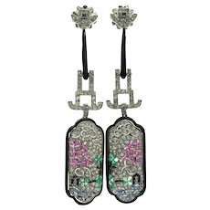 Oriental Diamond Earrings 18K Gold Ruby Emerald Sapphire