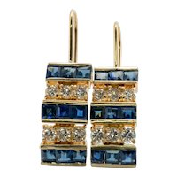 Diamond Sapphire Earrings 14K Gold Dangle