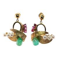 Ruby Emerald Earrings Cultured Pearl 14K Gold