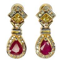 Diamond Yellow Sapphire Ruby Earrings 14K Gold