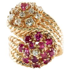 Diamond Ruby Ring 14K Gold Swirl