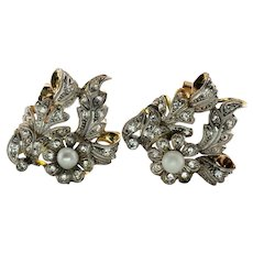 Pearl Diamond Earrings 14K Gold Old mine cut Floral Antique