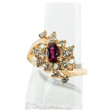 Diamond Ruby Ring 14K Gold Vintage Estate