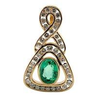 Diamond Emerald Pendant 14K Gold