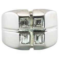 Mens Diamond Ring Square cut 14K White Gold Band .80 TDW