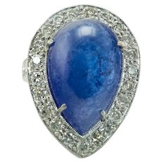 Diamond Sapphire Ring Cabochon Platinum