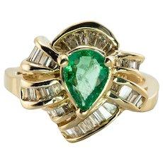 Diamond Emerald Ring 14K Gold Estate