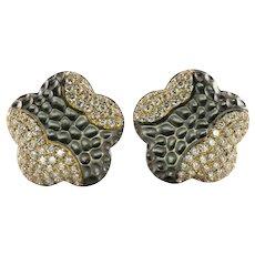 Diamond Earrings 18K Gold Hallmarked BA Flower Omega