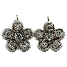 Diamond Earrings 14K White Gold Floral Russian USSR Vintage