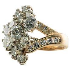Diamond Ring 14K Gold Old European Vintage 3.97 TDW