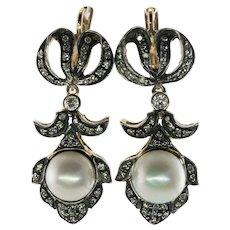 Pearl Diamond Earrings 18K Gold Sterling Silver Top