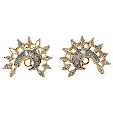 22K Gold Diamond Earrings  2.59 TDW Screw Posts
