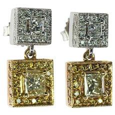 Diamond Earrings 18K Gold Platinum Dangle 2.84 TDW