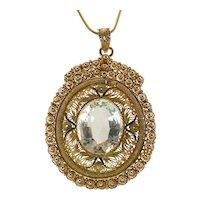 White Beryl Large Pendant 14K Gold