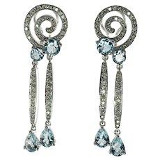 Diamond Aquamarine Earrings 18K White Gold Dangle Geometric Spiral