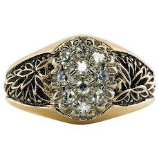 Mens Diamond Ring 14K Gold Band Single cut