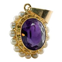 Double Sided Pearl Amethyst Pendant 14K Gold