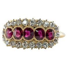 Diamond Ruby Ring No Heat 18K Gold Mine cut Antique