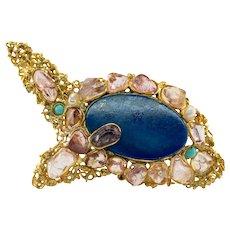 Lapis Lazuli Brooch Pendant Turquoise Pearl Pink Quartz 18K Gold