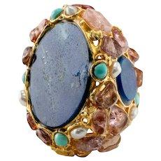 Lapis Lazuli Ring Turquoise Pearl Pink Quartz 18K Gold Cocktail