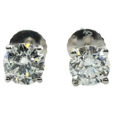 Natural Diamond Earrings Studs 1.10 CTW 18K White Gold