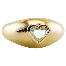 .75ct Heart Diamond Ring Band 18K Gold Solitaire