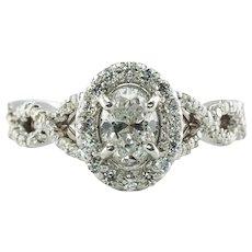 Diamond Halo Ring 14K White Gold 1.14 TDW Engagement
