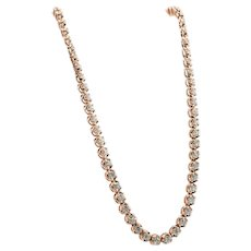 "Tennis Diamond Necklace  20"" Long 14K Rose Gold 5.10 TDW"