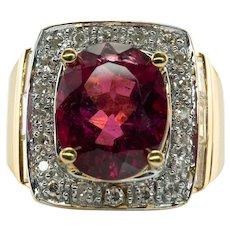 Diamond Rubellite Pink Tourmaline Ring 18K Gold