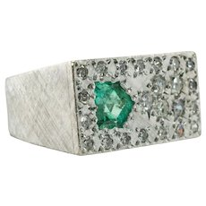 Mens Emerald Diamond Ring 14K White Gold Colombian Vintage