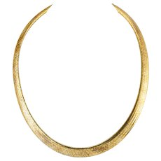 Egyptian Style Necklace Choker 14K Gold Italy