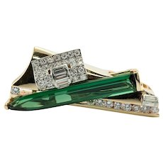 Diamond Green Tourmaline Pendant Slide 14K Gold