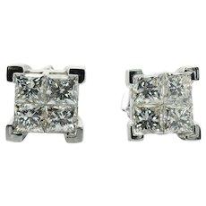 Diamond Stud Earrings Princess cut 14K Gold 2.00 TDW